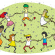 Young People Dancing in a Circle on Green Grass Field with Flowe - Stock Vector