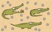 Hand drawn grunge illustration set of three cute crocodiles on f — Stock Vector