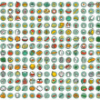 Collection of 196 food and kitchen doodled icons — Stock Vector