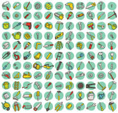 Collection of 121 tools doodled icons — Stock Vector