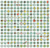 Collection of 225 web and mobile doodled icons — Stock Vector