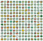 Collection of 196 food and kitchen doodled icons — Vettoriale Stock