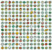 Collezione di 196 alimenti e cucina scarabocchiato icone — Vettoriale Stock