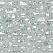 stora doodled transport ikoner insamling i svartvitt — Stockvektor