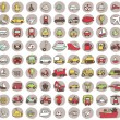Stock Vector: Collection of 80 transportation doodled icons