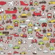 Big doodled transportation icons collection in colors — Stock Vector