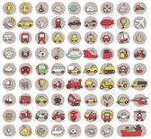 Collection of 80 transportation doodled icons — Stock Vector