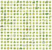 Collection of 256 ecology doodled icons — Stock Vector