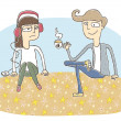 Small vignette illustration of a flirting couple — Imagen vectorial