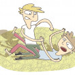 Small vignette illustration of two boys fighting — Image vectorielle