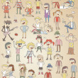 Set of funny singing teenagers — Imagen vectorial
