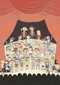 Funny school choir singing poster — Stock Vector