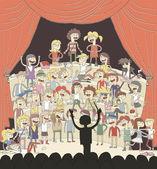 Funny school choir singing — Stock Vector