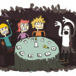 Ghost Funny Cartoon with teenagers communicating to other world — Image vectorielle