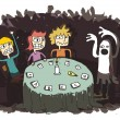 Ghost Funny Cartoon with teenagers communicating to other world — Stockvectorbeeld