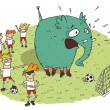 Group of youngsters making fun of an elephant on a soccer field — Stock vektor