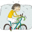 Exhausted girl riding a bike cartoon — Stock Vector