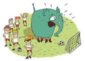 Group of youngsters making fun of an elephant on a soccer field — Stockvector