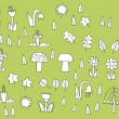 Cartoon Vegetation Collection in black and white  — Stock Vector