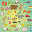 Funny Animals Collection in colours, with outlines and shadows — Stok Vektör