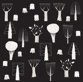 Coleção de árvores de grande grunge em preto e branco, com texturas cinza — Vetorial Stock