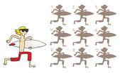 Surfeur ombres jeu visuel — Vecteur