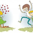 Romance Differences Visual Game — Imagen vectorial