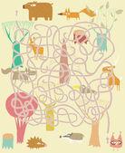 Animals Maze Game. Solution in hidden layer! — Stock Vector