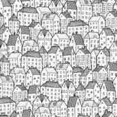 City seamless pattern in balck and white — Stock Vector