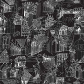 Historic Italian Architecture Collage seamless pattern — Stock Vector