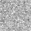 School seamless pattern in black and white — Stok Vektör