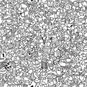 Icons seamless pattern in black and white — Vecteur