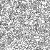 Christmas seamless pattern in black and white — Vecteur