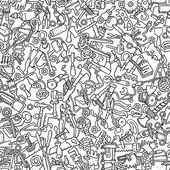 Tools seamless pattern in black and white — Stockvector