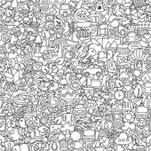 Ecology seamless pattern in black and white — Vecteur