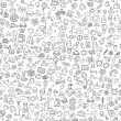 Symbols seamless pattern in black and white — Stok Vektör