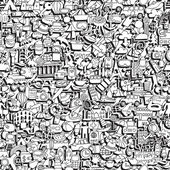 Travel seamless pattern in black and white — Stockvector