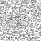 Transportation seamless pattern in black and white — Stockvector