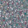 Singing children and school objects seamless pattern — Stok Vektör