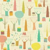 Modello senza giunte di alberi nei colori — Vettoriale Stock