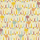 Trees seamless pattern in colors — Stock Vector