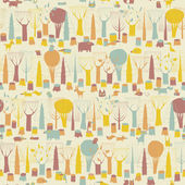 Woodland Animals seamless pattern  — 图库矢量图片