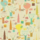 Seamless pattern di grunge animali bosco — Vettoriale Stock