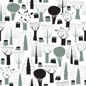 Trees seamless pattern tapestry in grey — Stock Vector