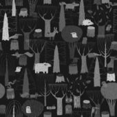 Wood Animals tapestry seamless pattern in grey — Stock Vector