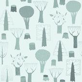 Arazzo di alberi modello senza soluzione di continuità in blu — Vettoriale Stock