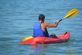 Sports, paddling the canoe — Stock Photo