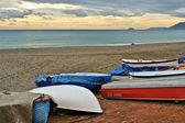 Boats still on the beach — Stock Photo