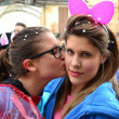 Carnival. the kiss. girls — Stock Photo