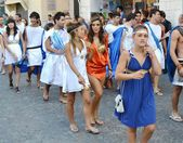 "City ​​of Fano. Marche. Italy. parade ""the Fano dei Cesari"" inspired by the costumes of ancient Rome — Stock Photo"